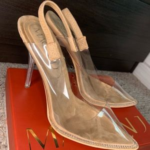 Mackage Shoes - Suede Clear Vynil Slingback heels